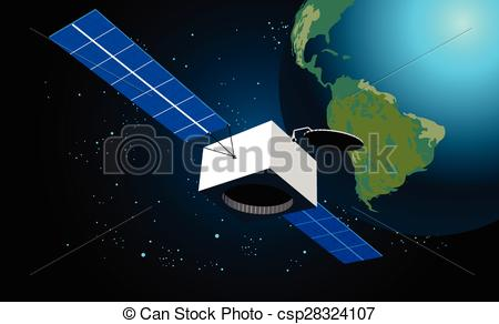 450x292 Space Satellite. Vector Illustration Of Satellite In Space With