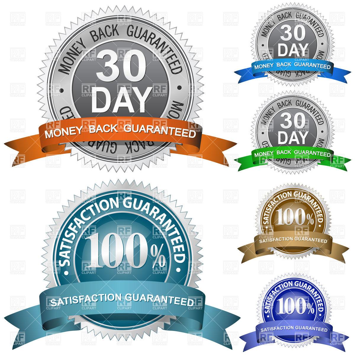 1200x1200 Money Back And 100% Satisfaction Guaranteed Badge Vector Image