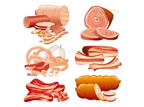 468x349 Meat And Sausage Vector