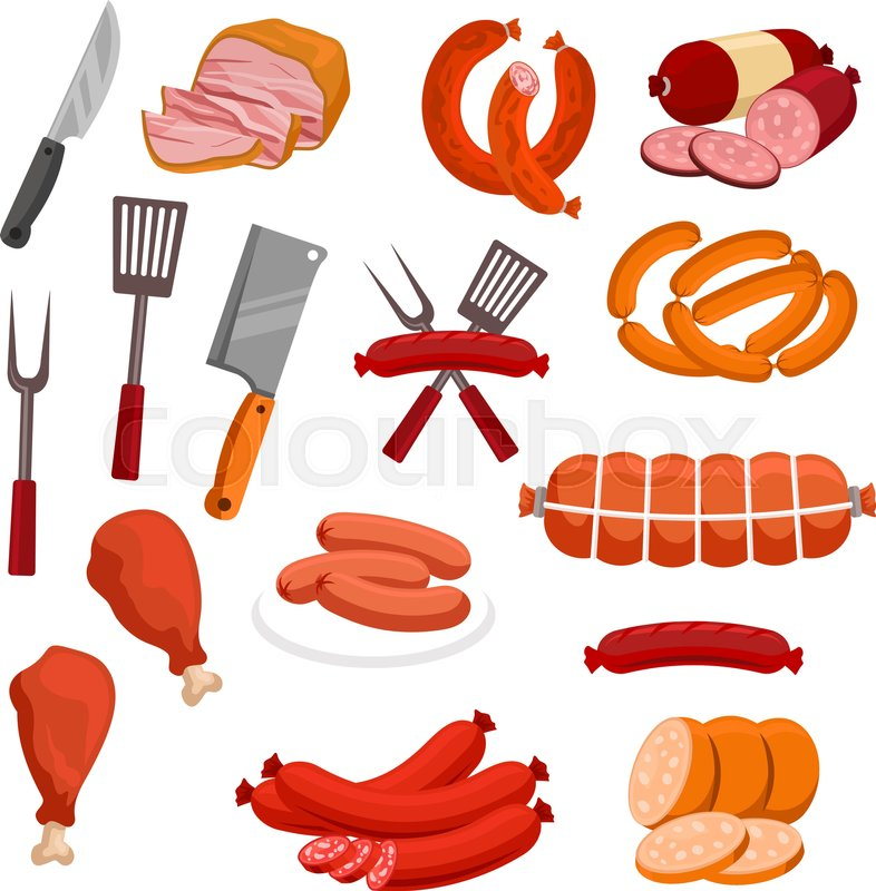786x800 Meat And Sausages Vector Icons. Butchery Or Butcher Shop Meat Food