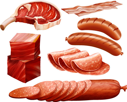 500x401 Meats With Bacon And Sausages Vector Free Download
