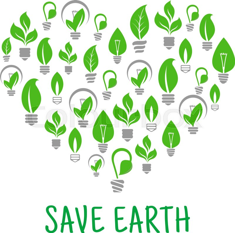 800x793 Save Earth Poster. Energy Saving Green Leaf And Lamp Bulb Symbols