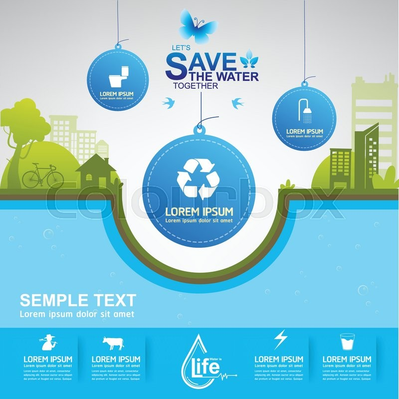 800x799 Save Water Vector Eps 10 Template Stock Vector Colourbox