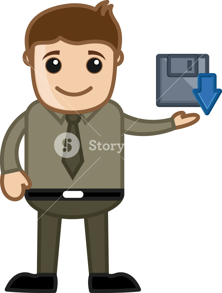 758x1000 Cartoon Man Showing Save Icon Vector Royalty Free Stock Image