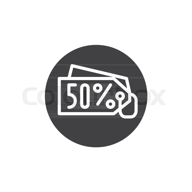 800x800 Discount Sale Price Tag Save 50 Percent Icon Vector, Filled Flat