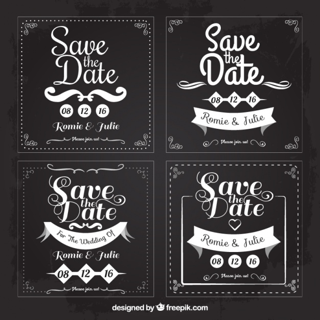 626x626 Four Weddings Cards For Save The Date, Square Shapes Vector Free