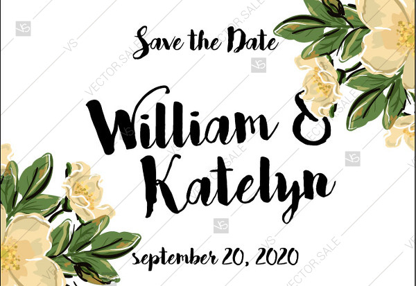 600x413 Save The Date Vector Card Template Romantic Flower Dog Rose
