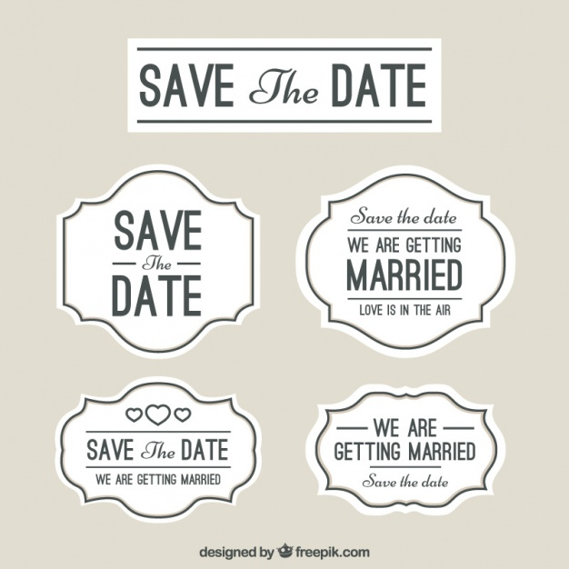 626x626 Wedding Labels, Save The Date Vector Free Download