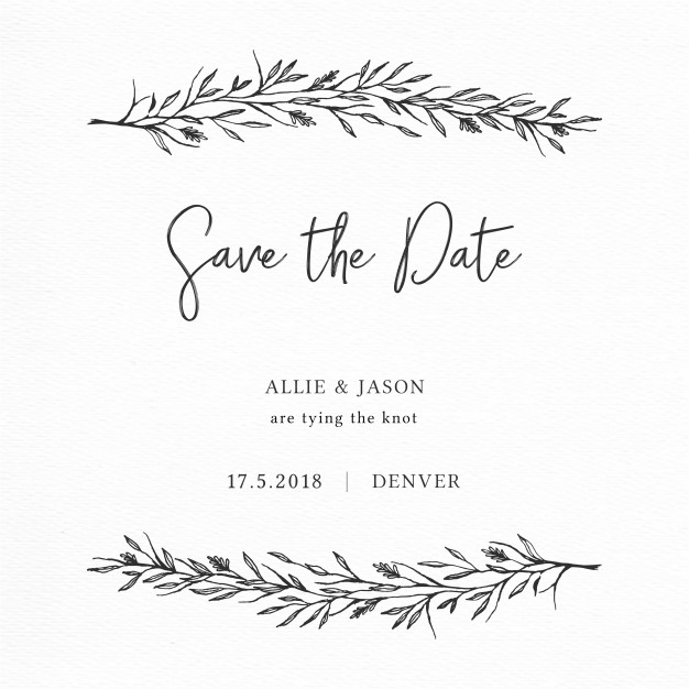 626x626 Elegant Save The Date Card With Hand Drawn Branches Vector Free