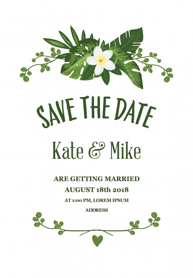 626x900 Floral Save The Date Card Vector Free Download