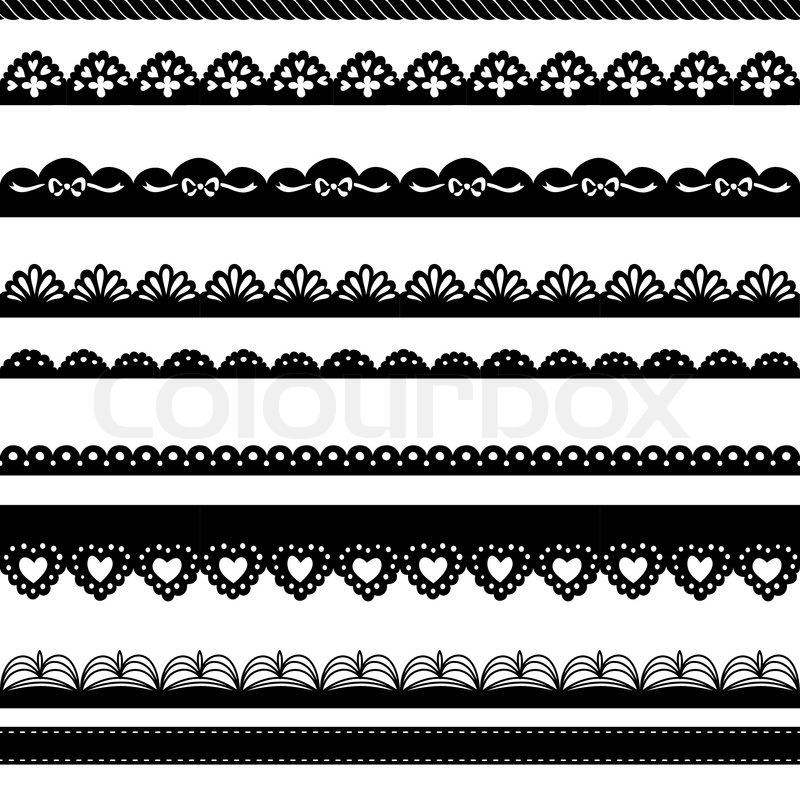 800x800 Set Of Hand Drawn Lace Paper Punch Borders Stock Vector Colourbox