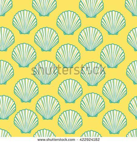 450x470 Seashell Seamless Pattern. Scallop Vector Background.