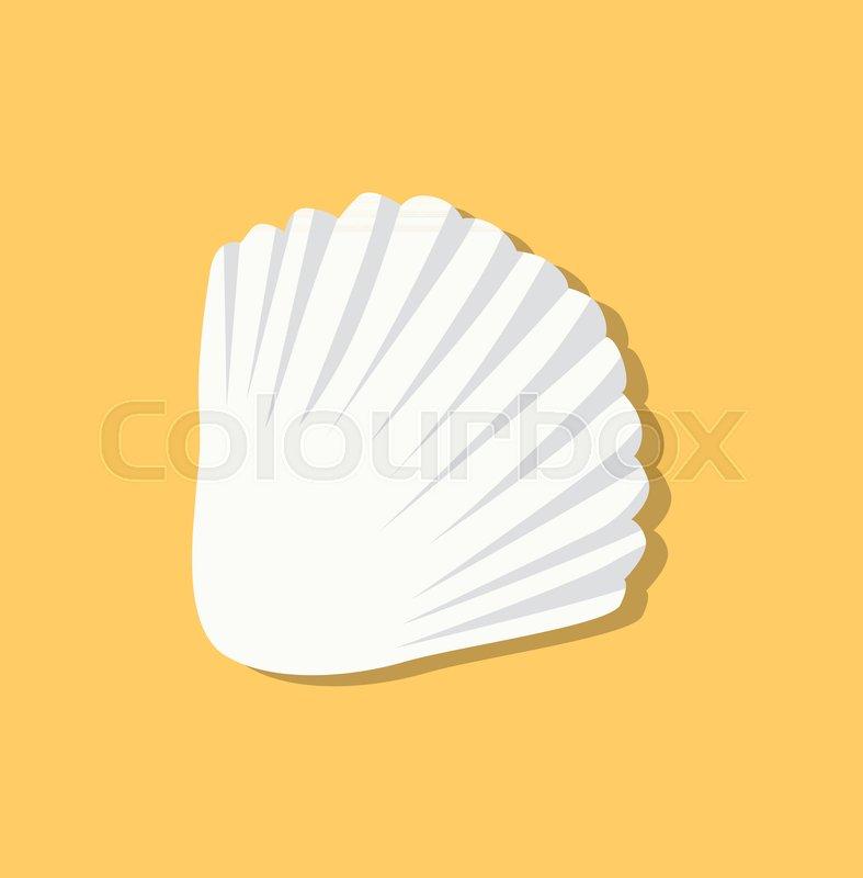 787x800 Cute White Seashell Isolated On Yellow Background, Marine Animal