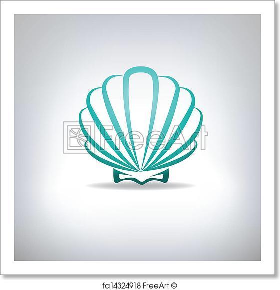 561x581 Free Art Print Of Scallop Seashell. Vector. Freeart Fa14324918