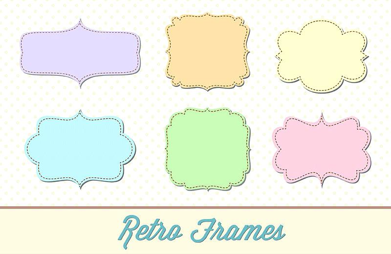 800x520 Scalloped Picture Frame Set Scalloped Frames Stock Vector