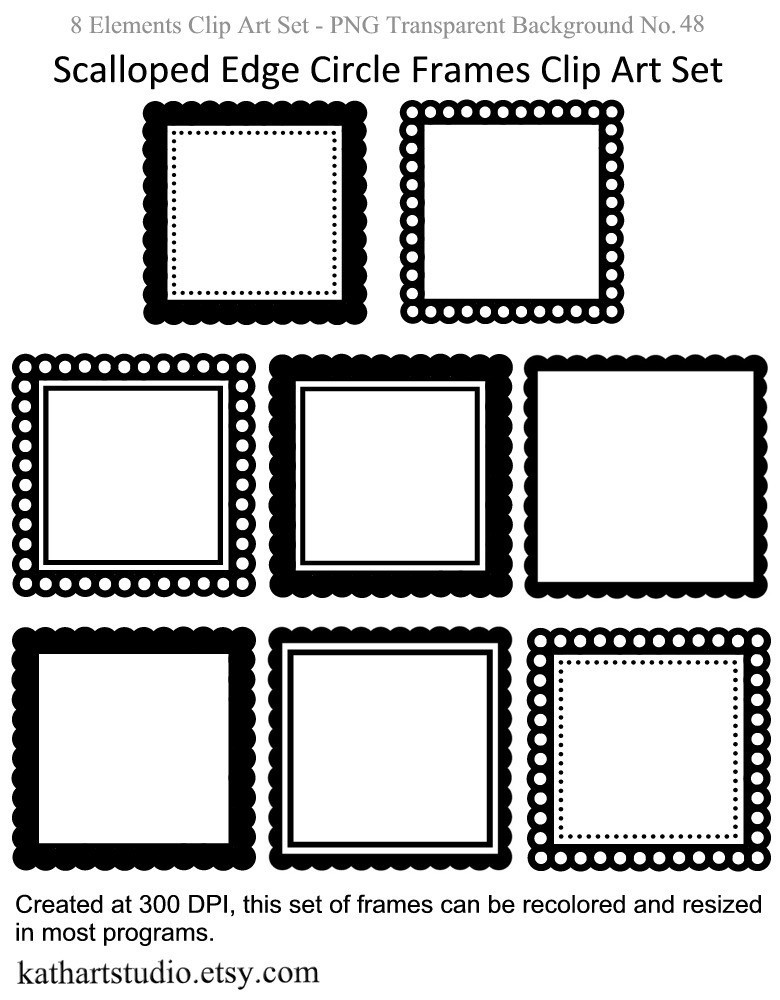 780x1000 Scalloped Edge Photo Frame Clipart