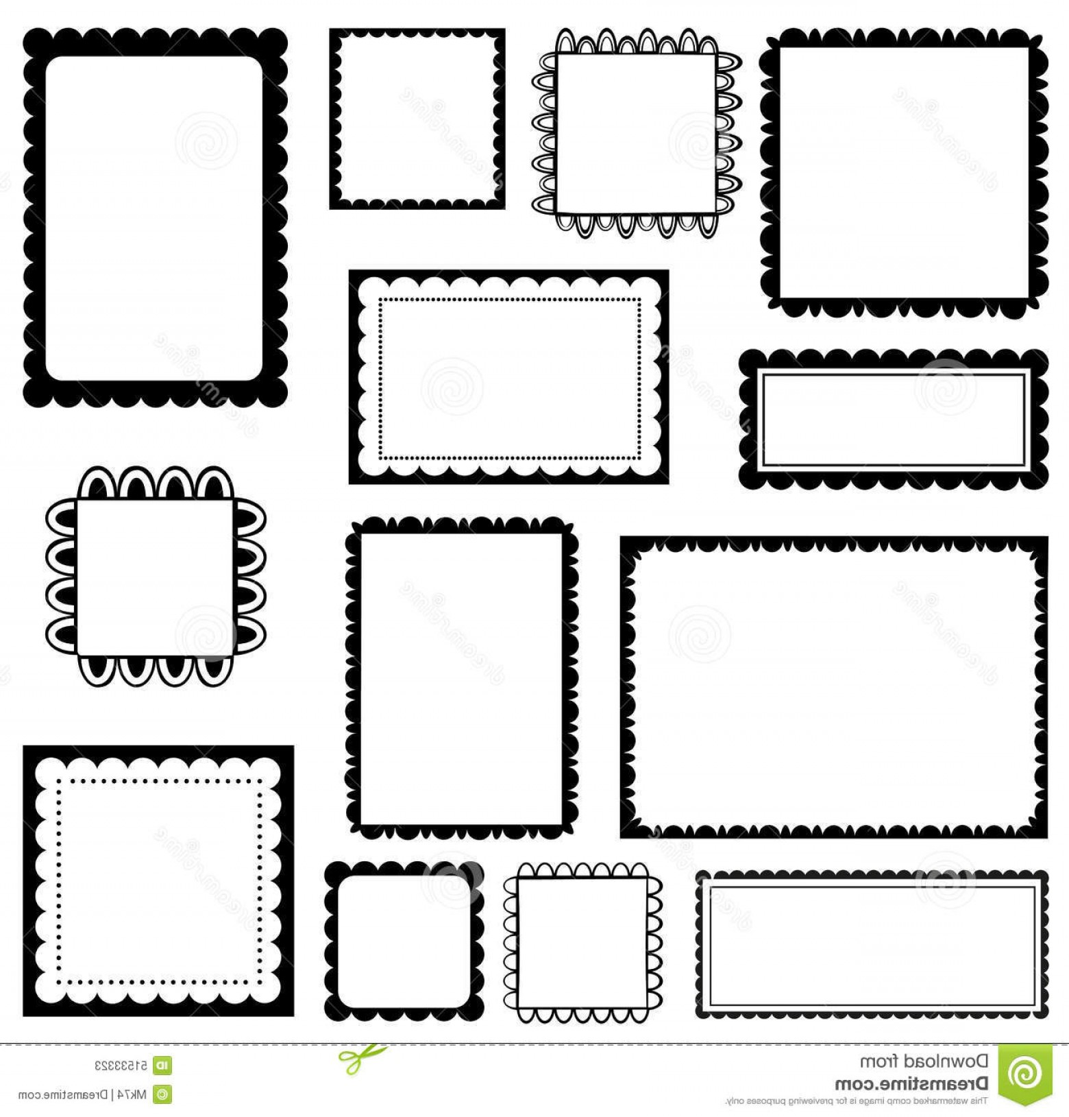 1560x1629 Stock Illustration Scalloped Frames Set Black White Image