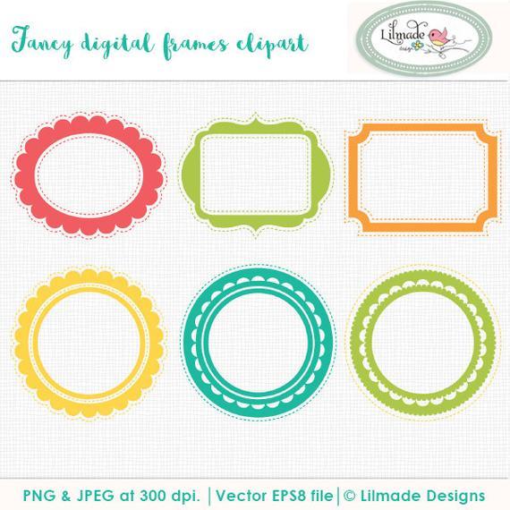 570x570 Frames Clip Art, Vector Clipart, Round Frames, Round Scallop Frame