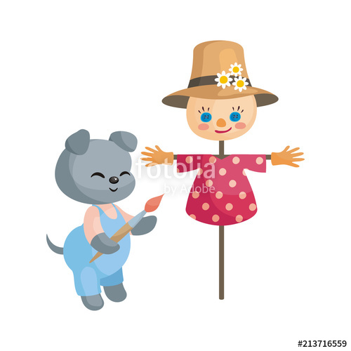 500x500 Cute Puppy Paints A Scarecrow. Vector Illustration In Cartoon