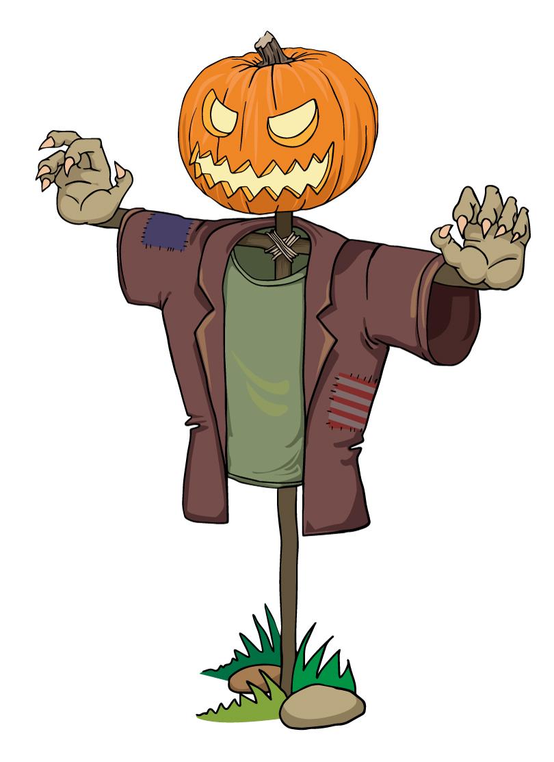 810x1113 Halloween Pumpkin Zombie Scarecrow Vector Free Vector Graphic