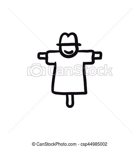 450x470 Scarecrow Sketch Icon. Scarecrow Vector Sketch Icon Isolated On