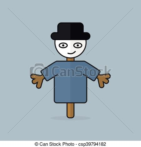450x470 Character Cheerful Scarecrow. Vector Illustration.