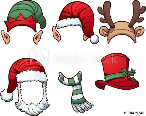 500x396 Christmas Hats And Scarf. Vector Clip Art Illustration With Simple