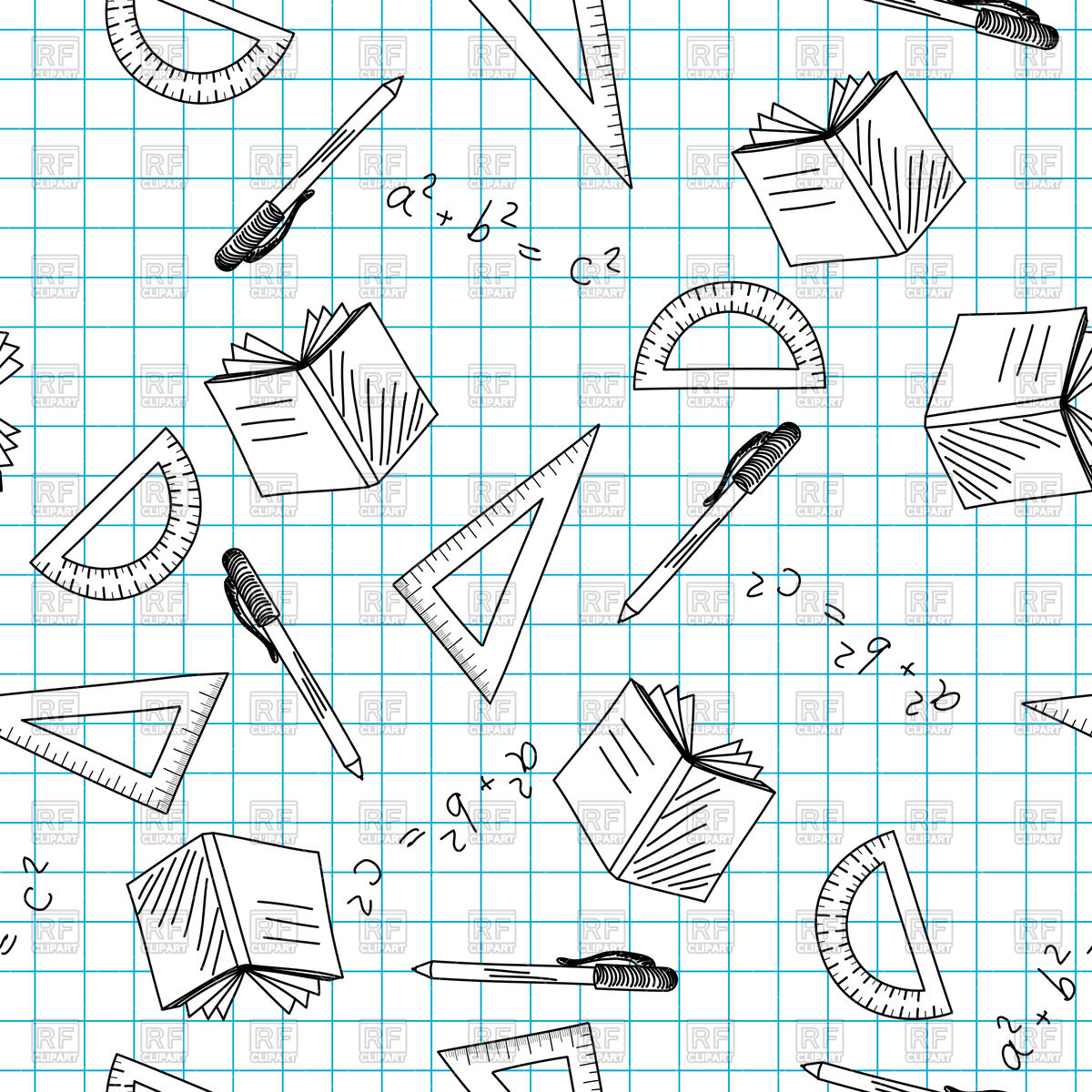 1200x1200 Back To School Theme Doodle Seamless Background Vector Image