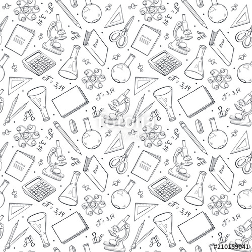 500x500 School Doodle Background. Vector Seamless Pattern From School