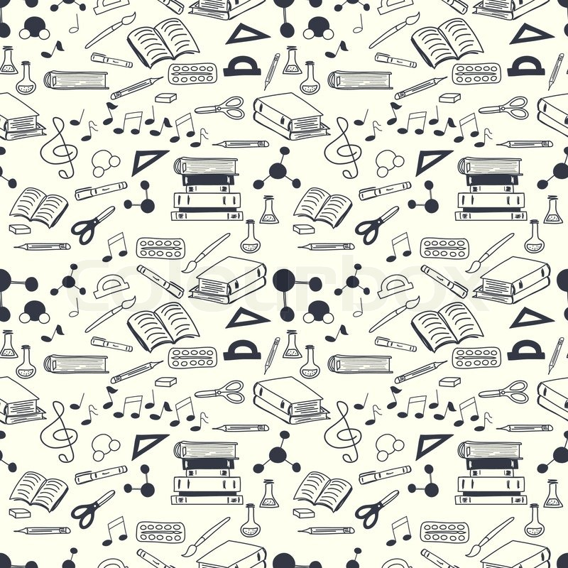 800x800 Seamless Pattern With Scribbled School Stationery. Hand Drawn Back