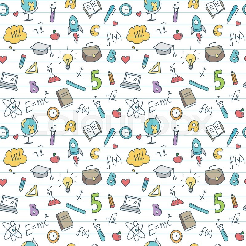 800x800 Vector Funny Hand Drawn School Accessories Seamless Pattern. Cute