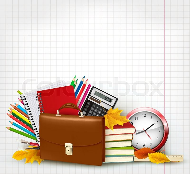 800x733 Back To School Background With School Supplies And Autumn Leaves