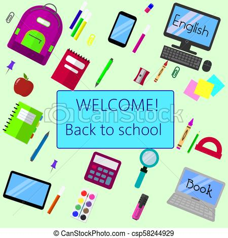 450x470 Back To School Background, Vector Illustration. Back To School