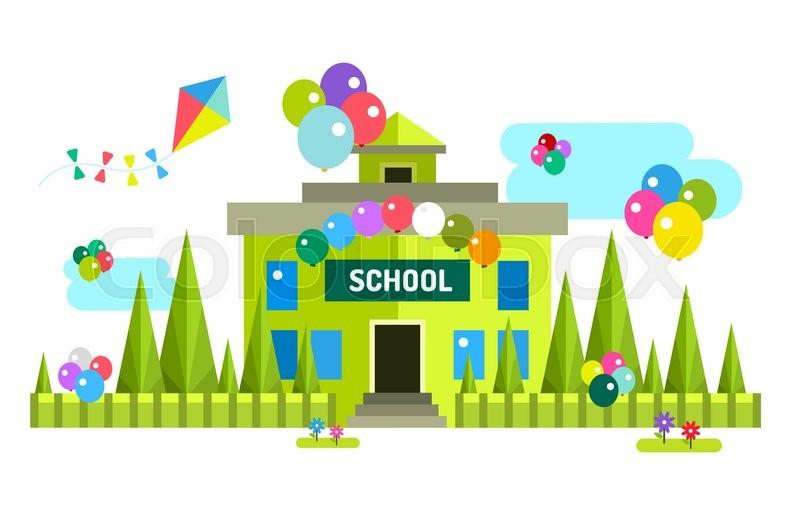 800x523 Back To School Background. Vector School Building Illustration