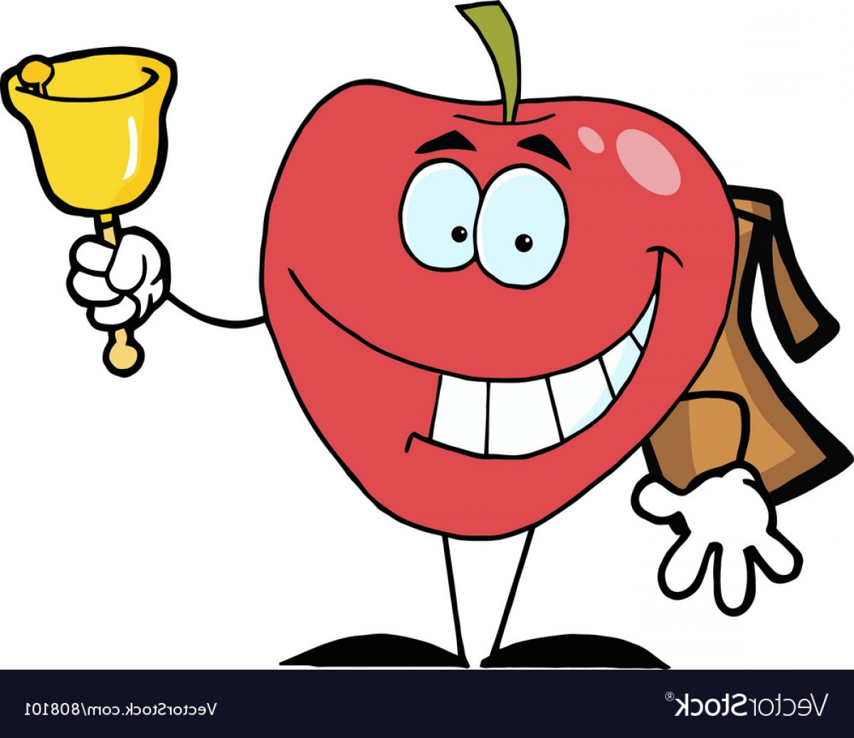 1200x1036 Happy Red School Apple Ringing A Bell Vector Lazttweet