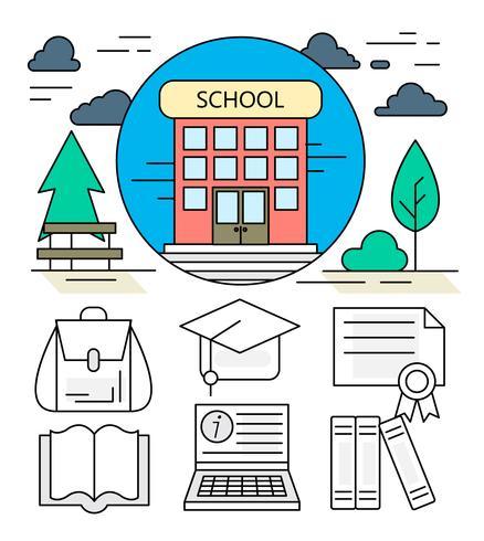 438x490 School Building Free Vector Art