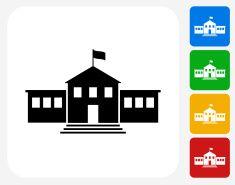 235x185 School Building Icon Flat Graphic Design Vector Art Illustration