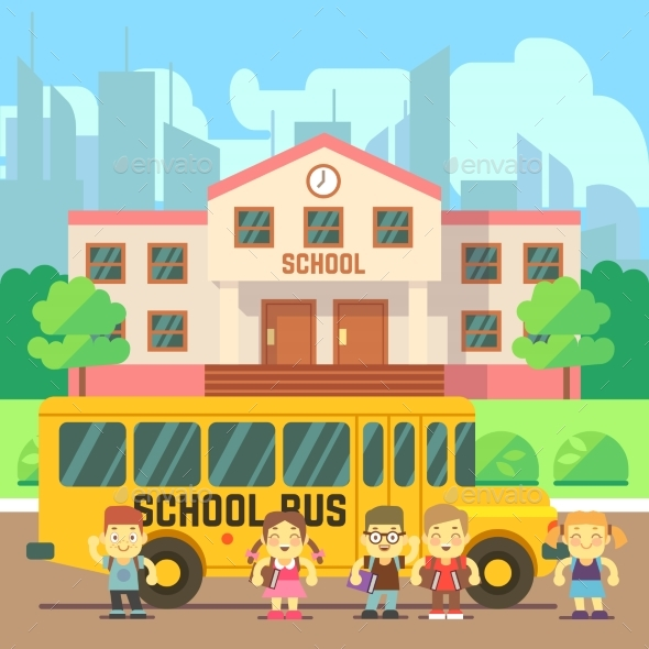 590x590 School Building Vector Flat Concept By Microvone Graphicriver