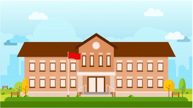 626x352 School Building Vector Landscape Vector Premium Download