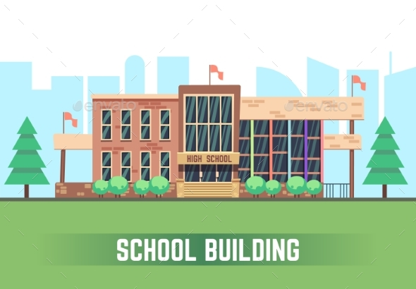 590x410 School Building. Vector Flat Education Concept By Neyro2008