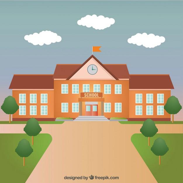 626x626 School Building Vector Free Download