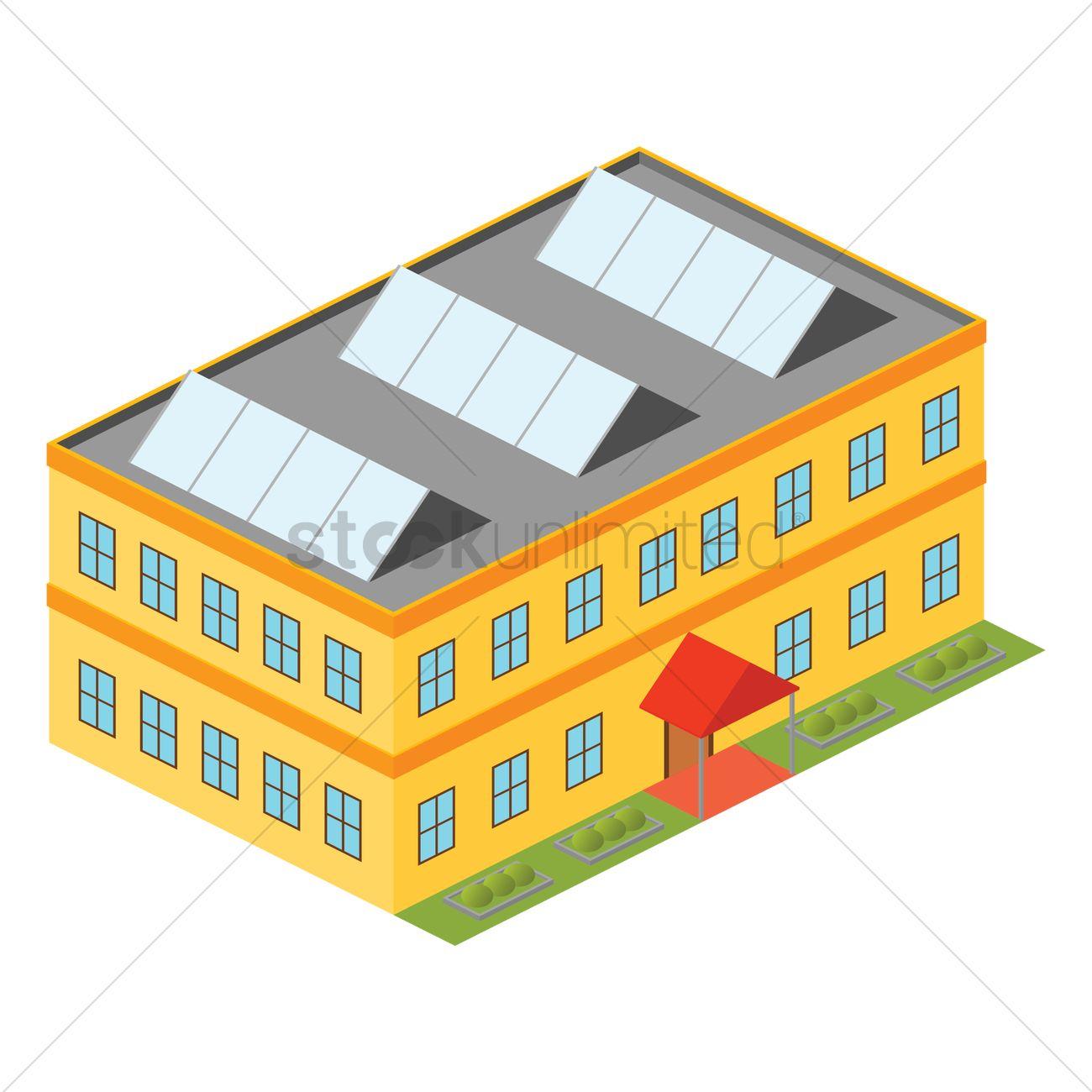 1300x1300 School Building Vector Image