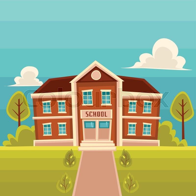 800x800 School Building Cartoon Vector Illustration On Landscape