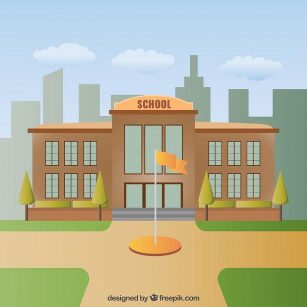 626x626 School Building Illustration Vector Free Download