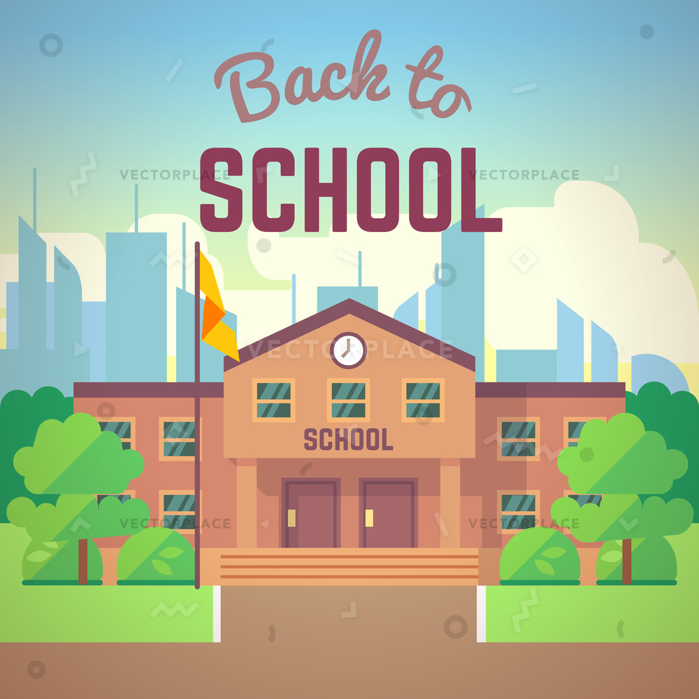 1000x1000 Back To School Poster Building Flat Vector Illustration 60319
