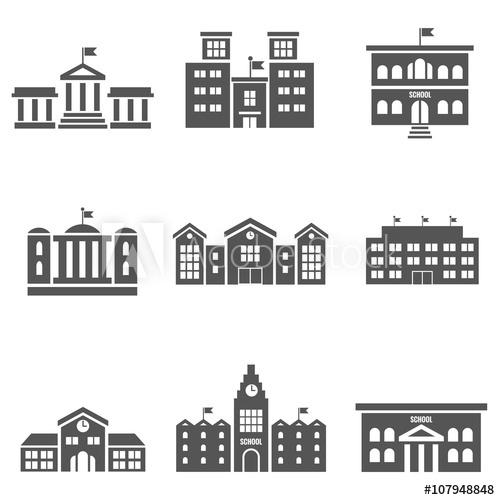 500x500 School Building Vector Icons