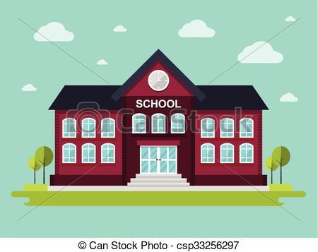 450x357 School Building. Vector Illustration Of School. Flat Design Style