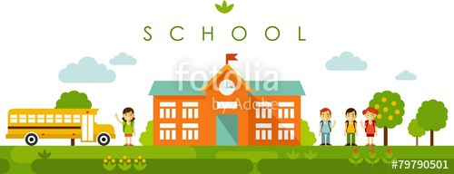 500x192 Seamless Panoramic Background With School Building In Flat Style