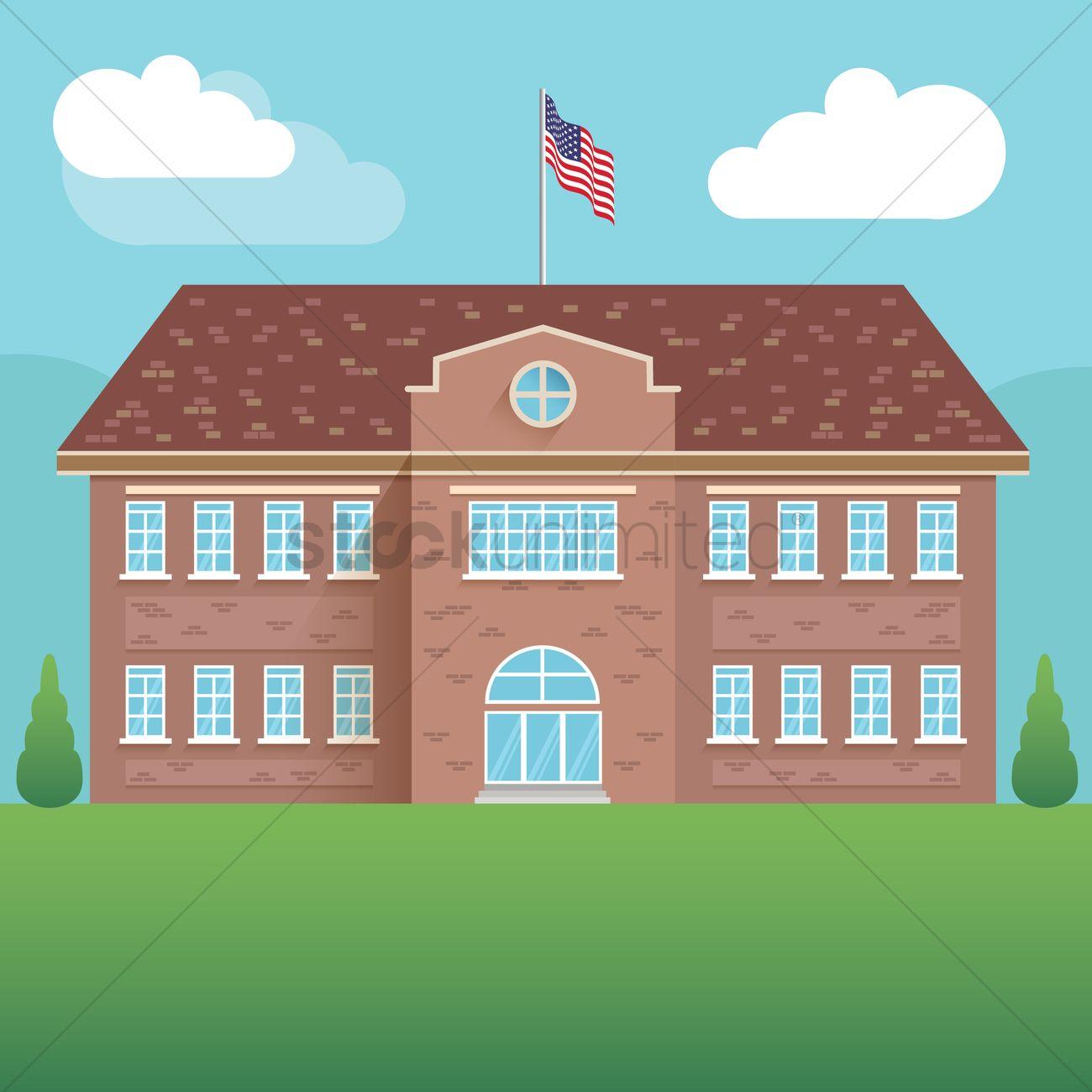 1300x1300 Usa School Building Vector Image
