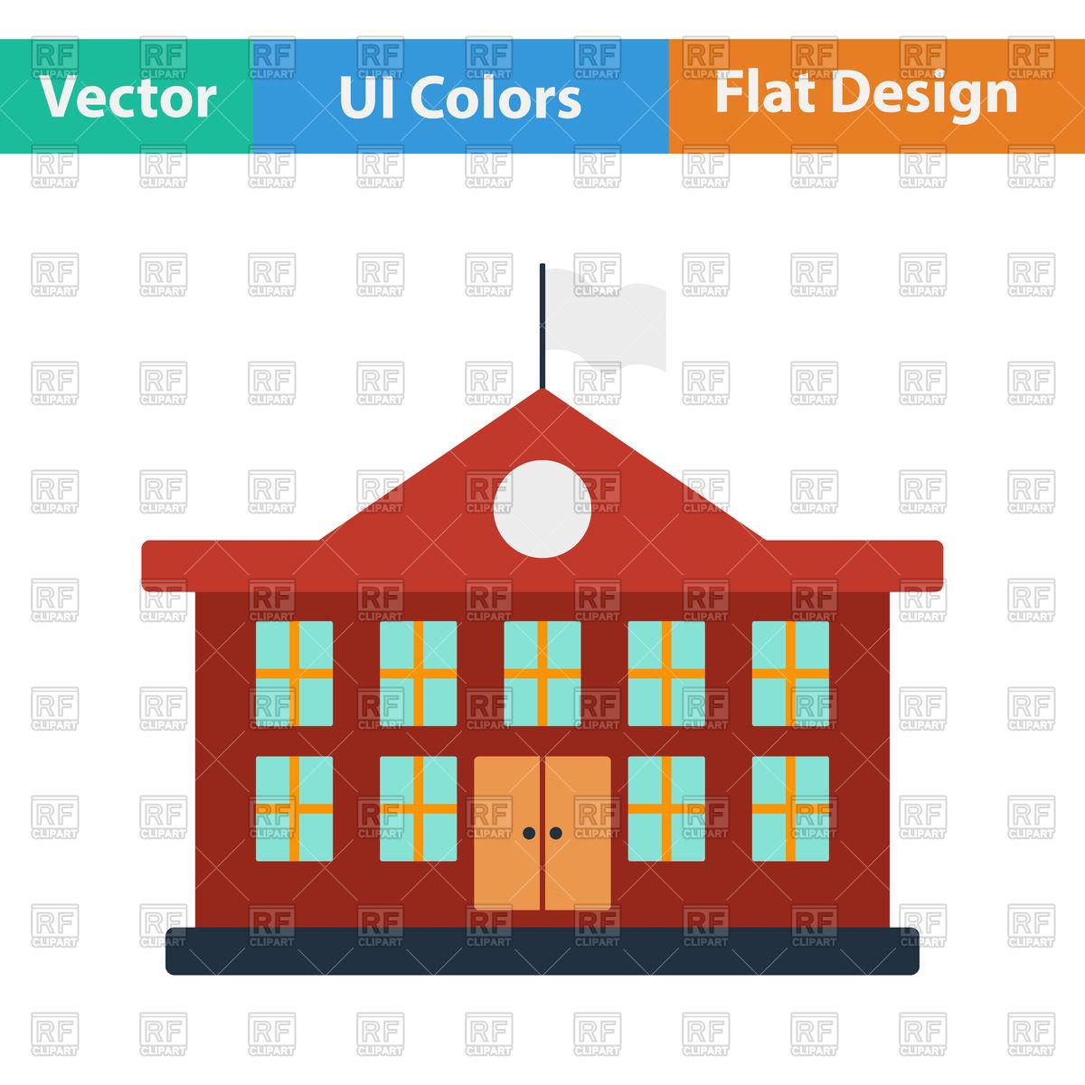1200x1200 Flat Design Icon Of School Building In Ui Colors Vector Image